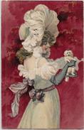 CPA Art Nouveau Femme Girl Woman Non Circulé Gaufré Chien Dog - Ilustradores & Fotógrafos