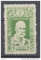 INDOCHINE N° 291 XX Effigies Diverses : Alexandre Yersin 1 Pi Vert Dentelure Hahituelle