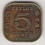 @Y@    Ceylon   5 Cents  1945    (4443) - Sri Lanka (Ceylon)