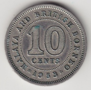 @Y@    Maleisië En Brits Borneo   10 Cents   1953   (4445) - Maleisië