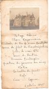 SAINT POL DE LEON - SIBIRIL - Le Château De Kérouzère  Petite Photo Avec Menu 1945 - Menus