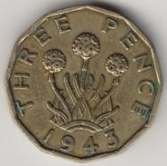 @Y@    Groot Brittanië   3 Pence  1943    (4471) - 1902-1971 :  Post-Victoriaanse Muntstukken
