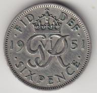 @Y@    Groot Brittanië   6  Pence  1951    (4472) - 1902-1971 :  Post-Victoriaanse Muntstukken