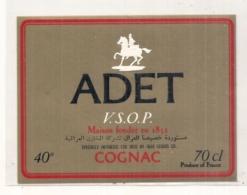 étiquette   - COGNAC  Adet VSOP étiquette Export Vers Les Pays Arabe IRAQ - Autres