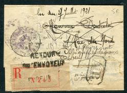 France - Cover / Lettre En Recommandé De Elbeuf Pour Elbeuf Et Retour En 1927  Réf J 102 - Marcophilie (Lettres)
