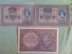 2 BILLETS D'AUTRICHE DE1902 1000 KRONEN ET 1 BILLET DE POLOGNE 1000 MAREK DE 1919 - Austria