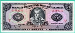 5 Sucres - Equateur - N° 01369939 - Série IE  - 22 Novembre 1988 - Neuf - - Ecuador