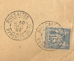 Millésime PETITS CARCTERES, RIVESALTES Pyrénées Orientales Sur Enveloppe Au Type SAGE. Cabinet D'Affaires HUGUES. - Marcophilie (Lettres)