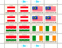 United Nations NY MNH 1982 Flag Sheets Scott #374-#389 - New-York - Siège De L'ONU