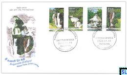 Sri Lanka Stamps 2003, Waterfalls, Ramboda, Saint Clair, Bapath Ella, Devon, FDC - Sri Lanka (Ceylon) (1948-...)