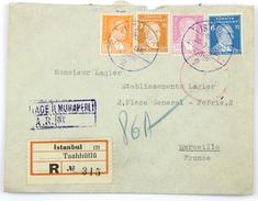 Enveloppe Recommandée AR 1940 Istanbul --> Marseille, Affr. 39 K 20 - 1921-... République