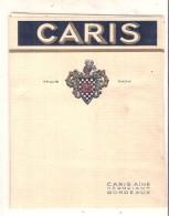 étiquette   - 1950 ...  - étiquette De Vin Générique Caris Négociant à Bordeaux - Rode Wijn