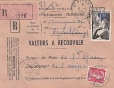 Yvert 1020 Ganterie + 1011 Muller Sur Lettre Recommandée Valeurs Recouvrer St Girons Ariège 6/2/1956 Pour EV - Briefe U. Dokumente