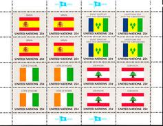 United Nations NY MNH 1988 Flag Sheets Scott #528-#543 - New-York - Siège De L'ONU