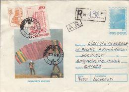 55012- KESTREL PARACHUTE, PARACHUTTING, REGISTERED COVER STATIONERY, 1995, ROMANIA