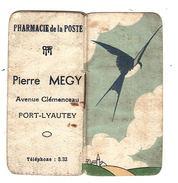 CALENDRIER PUBLICITAIRE Petit Format 1942 - PHARMACIE DE LA POSTE, Port-Lyautey (Kénitra), Maroc -  Complet - Calendriers