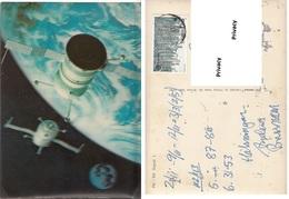Spazio Luna Globo Terrestre Space Moon Soyuz 1 Viaggiata - Cartoline Stereoscopiche
