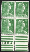FR 1058 - FRANCE N° 1010 Marianne De Muller Bloc De 4 Bord De Feuille Numéroté Neuf** Luxe - Unused Stamps