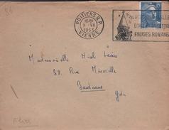"""Lettre Flamme Flier Poitiers R.P. 9 .VII 1953 """"(ill) Poitiers Ville D'Art Et D'Histoire Eglises Romanes - Poststempel (Briefe)"""