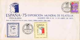 22057. Carta BARCELONA 1975, Actividades Hosspitalarias. Expo Mudial Filatelia Madrid, Viñeta - 1931-Hoy: 2ª República - ... Juan Carlos I