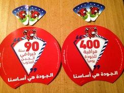 """Algerie-Etiquettes De Boites De Fromage ( 90 Ans D'expérience +400 Contrôles De La Qualité Par Jour)"""" La Vache Qui - Cheese"""