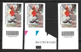 ITALIA 2015 - La Grande Guerra - La Liberazione - 100 Gemme - Mostra Filatelica - Trittico Con 2 Codici A Barre + Alfanu - 6. 1946-.. Repubblica