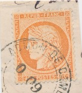 40 C Orange N° 38 Obl Espagnole Sur Frgt Signé Calves TB. - 1870 Beleg Van Parijs