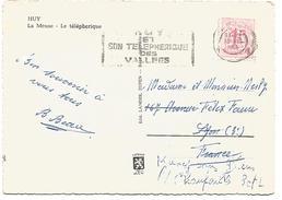 BELGIQUE CARTE DE HUY POUR LA FRANCE DU 19/8/1964 - Marcophilie