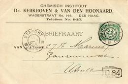 1906 Bk Met Firmalogo Van Den Haag Naar Utrecht - Poststempel