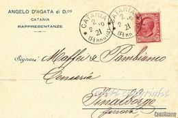 PUBBLICITA'_ADVERTISING_ANGELO D'AGATA Di D.co_CATANIA_RAPPRESENTANZE_Viaggiata Da Catania Il 2 Febbraio 1910- - Publicité