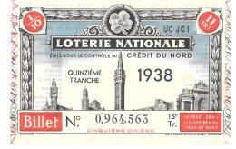 BILLET DE LOTERIE  NATIONALE...1938....CREDIT DU NORD. - Vieux Papiers