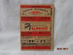 FERROVIE ITALIANE ORARIO REGIONALE F.POZZO PIEMONTE LIGURIA 1947 - Ferrovie