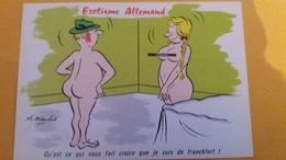 CPSM ILLUSTRATEUR ALEXANDRE EROTISME ALLEMAND QU EST CE QUI VOUS FAIT CROIRE QUE JE SUIS DE FRANCKFORT ? FEMME NUE NU - Alexandre