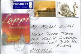 Cygne Doré, Lettre De Finlande Adressée ANDORRA,avec Timbre à Date Arrivée