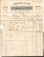 Facture - Fabrique De Chaussons Et Chaussures - Castor , Feutres - Vve Charles LE TESTU - CAEN - ( 14 Calvados)  1876 - Petits Métiers
