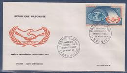 = République Gabonaise Année De La Coopération Internationale Enveloppe 1er Jour Libreville 25.3.65 - Gabon