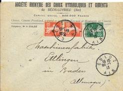 N° 137-138 SUR LETTRE DE CULOZ DU 20-1-13 POUR ETTLINGEN (ALLEMAGNE) - 1921-1960: Modern Period