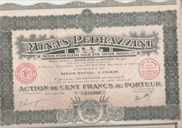 ACTION DE 100 FRS  -  MINES PEDRAZZINI - ETAT DE SONORA - MEXIQUE  - ANNEE 1926 - Mines