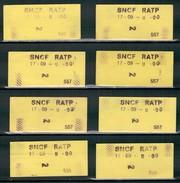8 Tickets SNCF - RATP - Paris - 2ème Classe - U-Bahn