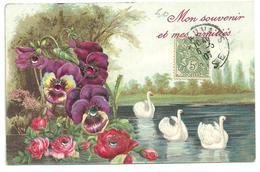 """CPA Gaufrée,brillants Et Paillettes,1907, Fleurs Pensées, Lac, Cygnes, Paysage Champêtre, """"mon Souvenir Et Mes Amitiés"""" - Phantasie"""