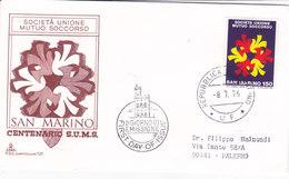 CARD SAN MARINO FIRST.DAY OF.ISSUE PRIMO GIORNO DI EMISSIONE CENTENARIO SOCIETA' UNIONE MUTUO SOCCORSO 1976-2-0882-26776 - Timbres
