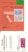 Carte De Pêche  Taxe Piscicole 1987 + Carte Et Timbre Club Halieutique - Vieux Papiers