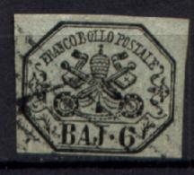 Stato Pontificio 1852 6 Baj Grigio Verdastro Sass.7 Usato/Used VF/F - Stato Pontificio
