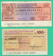 100 Lires - Italie - 2 Billets 1976/1977 - N° 92455239 Et 283561659 - - [10] Assegni E Miniassegni