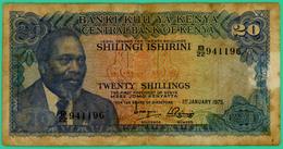 20 Shillings - Kenya - N°.B/22 941196 - 1975 - TB - - Kenya