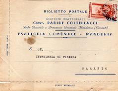 1952   CARTOLINA CON ANNULLO MANDURIA TARANTO - 6. 1946-.. Repubblica