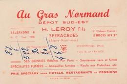 """Carte Commerciale  """"Au Gras Normand"""" / H. LEROY / Speracedes 06 / Charcuterie - Cartes"""