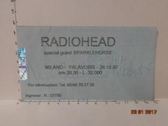RADIOHEAD BIGLIETTO VINTAGE CONCERTO 1997 PALAVOBIS MILANO - Tickets D'entrée