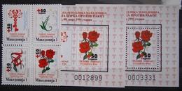 MACEDONIA 1995 Red Cross-Cancer,Flowers Bl.of 4 & 2 S/S MNH - Macédoine