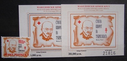 MACEDONIA 1995 Red Cross,Tuberculosis 1v & 2 S/S MNH - Macédoine